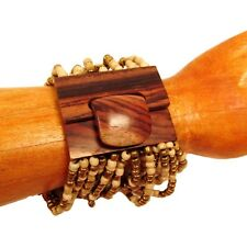 Gold Natural Color Handmade Beaded Stretch Wood Buckle Seed Bead Cuff Bracelet