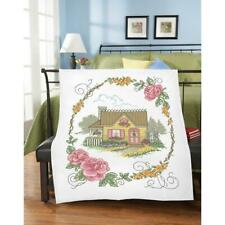 Herrschners® Cozy Cottage Lap Quilt Top Stamped Cross-Stitch