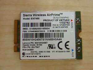 Sierra Wireless EM7455 4G LTE Lenovo ThinkPad T460s T460 T560 P50 FRU 00JT542