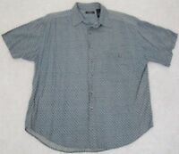 Expressions Dress Shirt Blue & White Large Rayon Men's Short Sleeve Man's Top