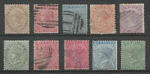 BERMUDA VICTORIAN SELECTION OF 10 (8 USED ,2 UNUSED) CAT £223