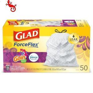 Glad ForceFlex 13 Gal Trash Bags 50 CT Gain Moonlight Breeze Scent