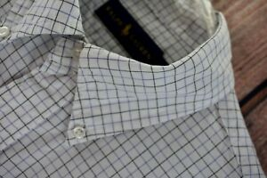 Ralph Lauren Mens Size 15 39 Dress Shirt Medium White Blue Check Long Sleeve