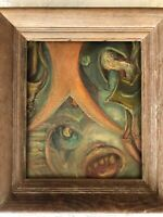 Mid-Century Surrealist Abstract Beautiful Washed Oak Frame Unsigned