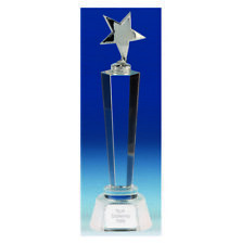 Agility Star Crystal Glass Trophy - Free Engraving