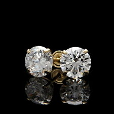 2CT Brilliant Created Diamond Solitaire Earrings 14K Yellow Gold Screwback Studs