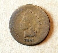 1881 Rare Old Indian Head Penny Cent Fine Grade Civil War Era Coin Liberty.