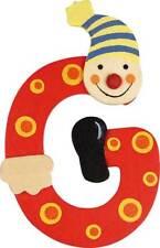 Lettre prenom de porte clown en bois G rouge, décoration de porte **