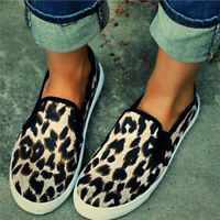 Womens Leopard Printing Sneakers Slip On Flat Trainers Casual Summer Shoes Size