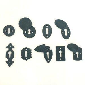 Black Antique Iron Round/Oval/Fleur-De-Lys/Rectangle Lock Keyhole Cover Plates