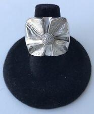 Vintage SONIA BITTON 14k Sterling Diamond Flower Ring