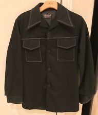 VINTAGE 70's Polyester Disco Farah Coat Jacket Black Mens Large