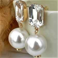 Big Pearl Silver Crystal  Statement Stud Dangle Earrings Rhodium Plated UK Xmas