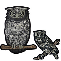 Black & Grey Owl Animal Patches Embroidered Iron On / Sew On patch