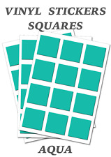 250 Aqua Squares Stickers - Self Adhesive Vinyl Labels size 13mm each