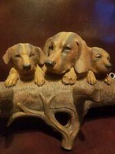 Antique Black Forest Carved Mother Dog and Pups Rack