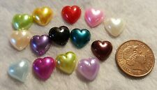 40pcs 12x12mm large acrylic flatback hearts.  mixed colours.  * UK SELLER *