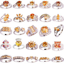 30 Styles Fashion Topaz Jewelry Morganite Gemstone Silver Ring Gift Size 6-13