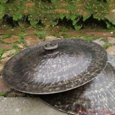 """16"""" Tibetan Taoism Temple Ritual Bell Bronze lion cymbals Hand Bell 青銅廣鈸 #1599"""
