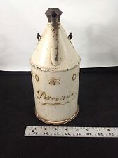 ANTIQUE GERMAN RUPPEL TWO LITER WHITE PETROLEUM GAS CAN WITH TOP GREAT CONDITION