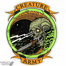 "CREATURE ""Army"" Skateboard Snowboard Sticker 15cm x 13cm Decal GREEN Large"