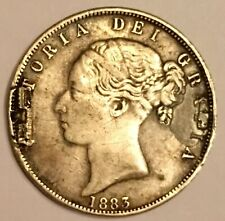 More details for 1883 queen victoria young head silver half crown