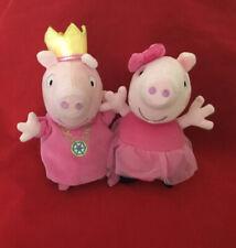 "2 Talking Peppa Pigs Soft Plush Toys Ballet Dancer & Princess  7"" approx VGC"