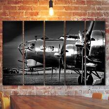 BIG SET 5 Panels Airplane B-17 Flying Fortress Wall Art Aviation Decor on Canvas
