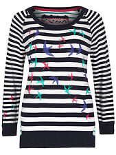 NEW M S PER UNA Nautical Striped Embroidered Jumper 8 18 20 22 24