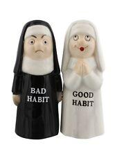 Good Bad Habits Nun Ceramic Magnetic Salt and Pepper Shaker Set