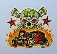 Vince Ray Skull n Rods Sticker Decal  Rat Rod Pistons Skull Rock A Billy