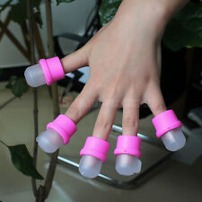 10pcs Wearable Nail Acrylic Pink Silica Gel Polish Remover Soak Soakers Cap Tool