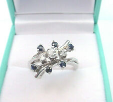 1950's Tradition 14K White Gold Ring Fine Vvs Diamonds w/ Sapphires Vintage