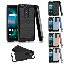 FOR NOKIA 3.1 PLUS 3.1C 3.1A BRUSHED METAL TEXTURE HYBRID CASE SLIM COVER+STYLUS