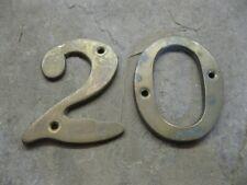 Original Reclaimed Brass Numbers 20 House, Gate, Workshop NL05