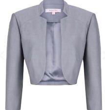 Jacques Vert Metal Gray Shimmer Bolero Jacket Shrug Bride Wedding New UK Size 12