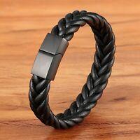 Bracelet pour homme en acier inoxydable et cuir noir 23 /21 /19 cm