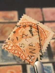 """Canada Stamp """"Vampire Bite"""" #41vi Small Queen issue (1893)"""