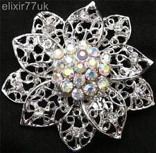"""2 """"Vintage Plata Flor Hojas Broche Diamante cristal de Estrás abordar la boda"""