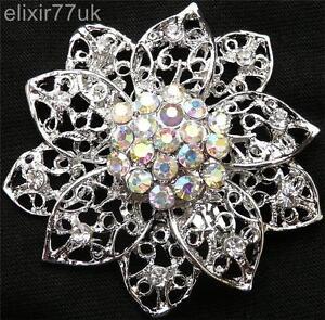 """2 """"Vintage Silber Blume Blatt Brosche DIAMANTE STRASS Kristall broach wedding"""