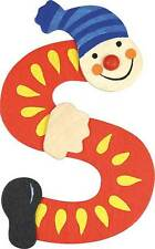Lettre prenom de porte clown en bois S ROUGE-Décoration de porte jeu et jouets**