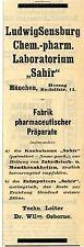 Ludwig Sensburg München Chem.-pharm. Laboratorium SAHIR Historische Reklame 1908