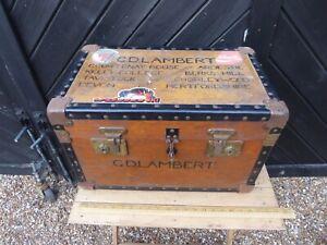 Vintage Boarding School Tuck Box / Foot Locker .Shoe Storage / Seat - refurbish