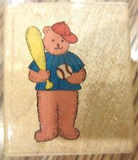 1991 Noteworthy Lb54 Baseball Bear Wooden Rubber Stamp