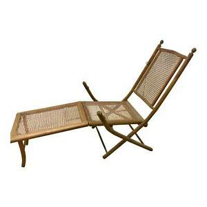 American Folding Caned Chaise | Deck Chair