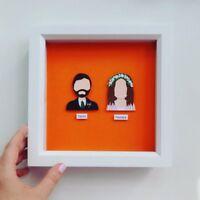 Framed Personalised Bride & Groom Paper Portrait - 1st Wedding Anniversary Gift/