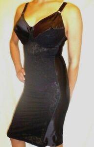 44 XL Tight Black Vintage Satin Lace Girdle Bra Full Slip Spandex Body Shaper