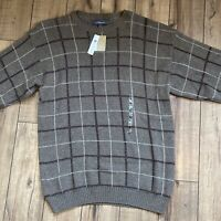 Vintage Croft & Barrow Cosby Brown Plaid sweater size Large Made in USA NOS