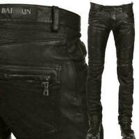 Men's Slim Fit Genuine Leather Motorcycle Pants Zipper Trousers Riding Pants New