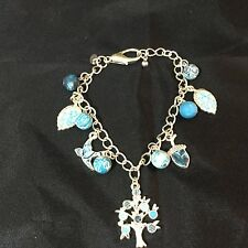 "Viva Fashion Bracelet Ice Blue Dove Tree Leaf Acorn Costume Jewelry 9"" Long"